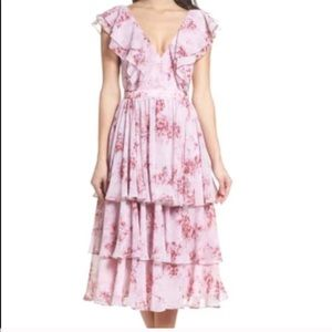 Fame & Partners Floral Ruffle Georgette Dr…